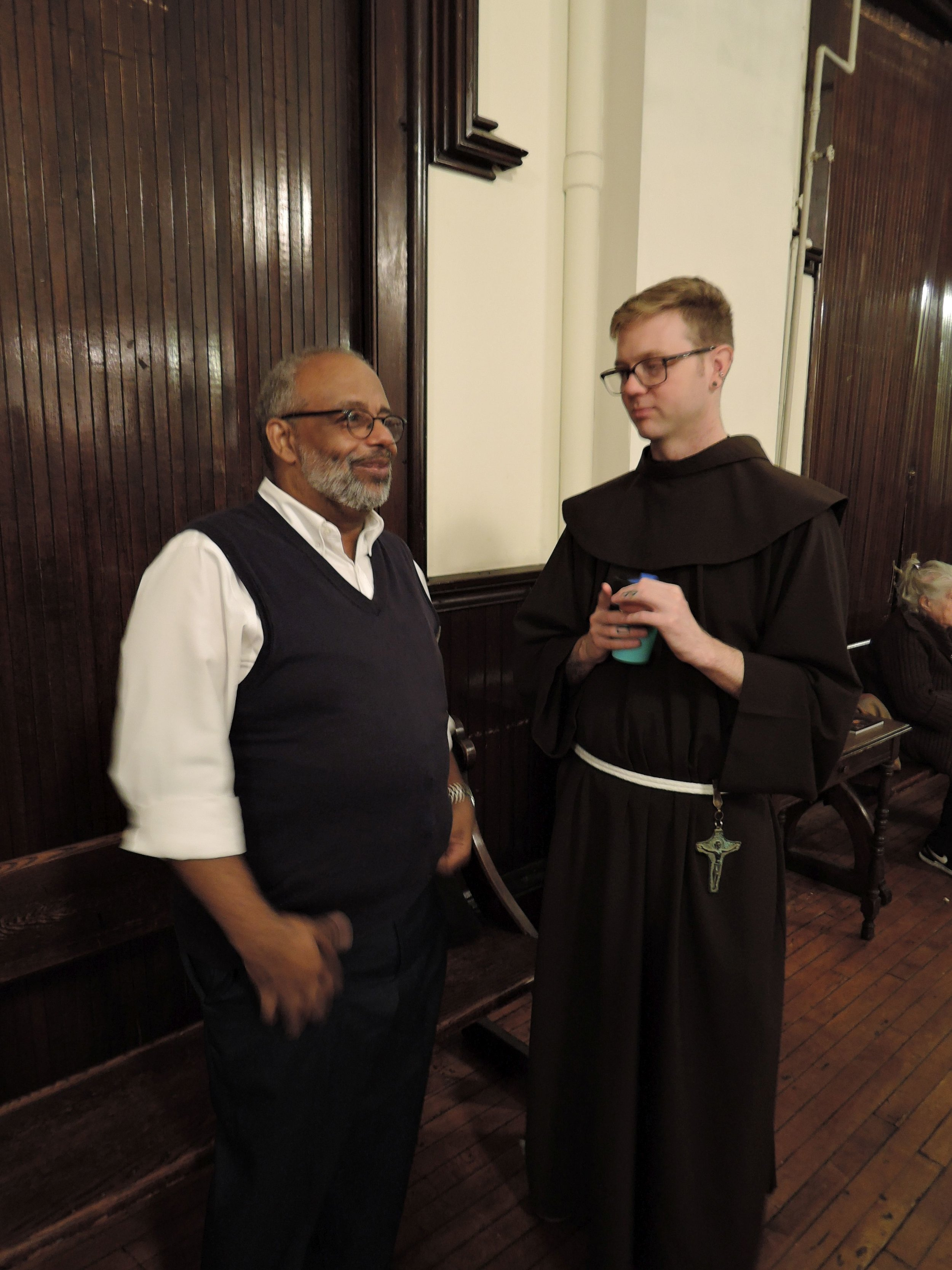 At Coffee Hour: Parishioner and Board member Blair Burroughs and Brother Thomas, SSF  Photo: Brother Damien Joseph, SSF
