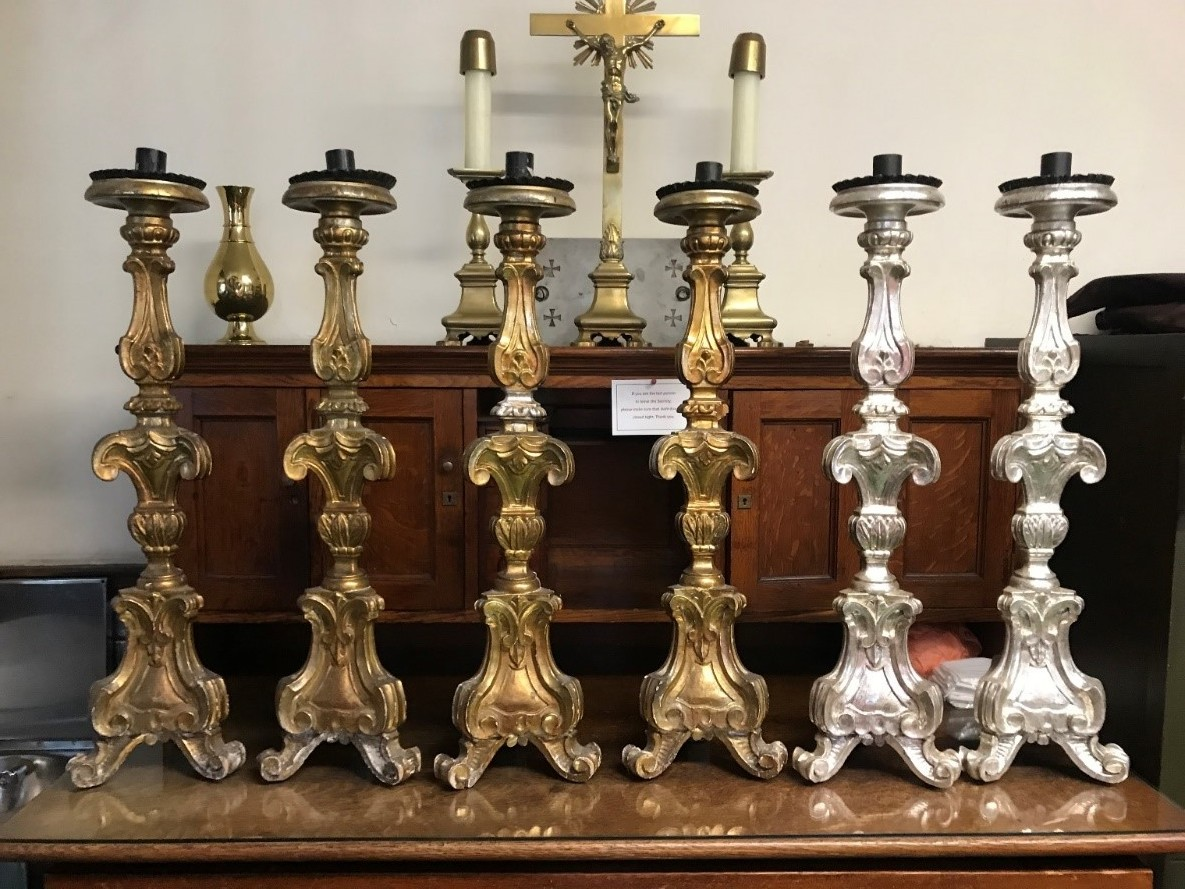 As we go to press, the special offering for All Souls' Day totals $6,517. As announced in the letter to the congregation for All Souls', this offering will be used to conserve at least two, and possibly three, of the remaining original candlesticks of the Saint Francis Altar. The restored candlesticks, with their original silver leaf, are now handled only by gloved hands. They continue to be in use on the high altar on the greater festivals. Many thanks to all whose gifts will continue the work.  Photo by the Rector