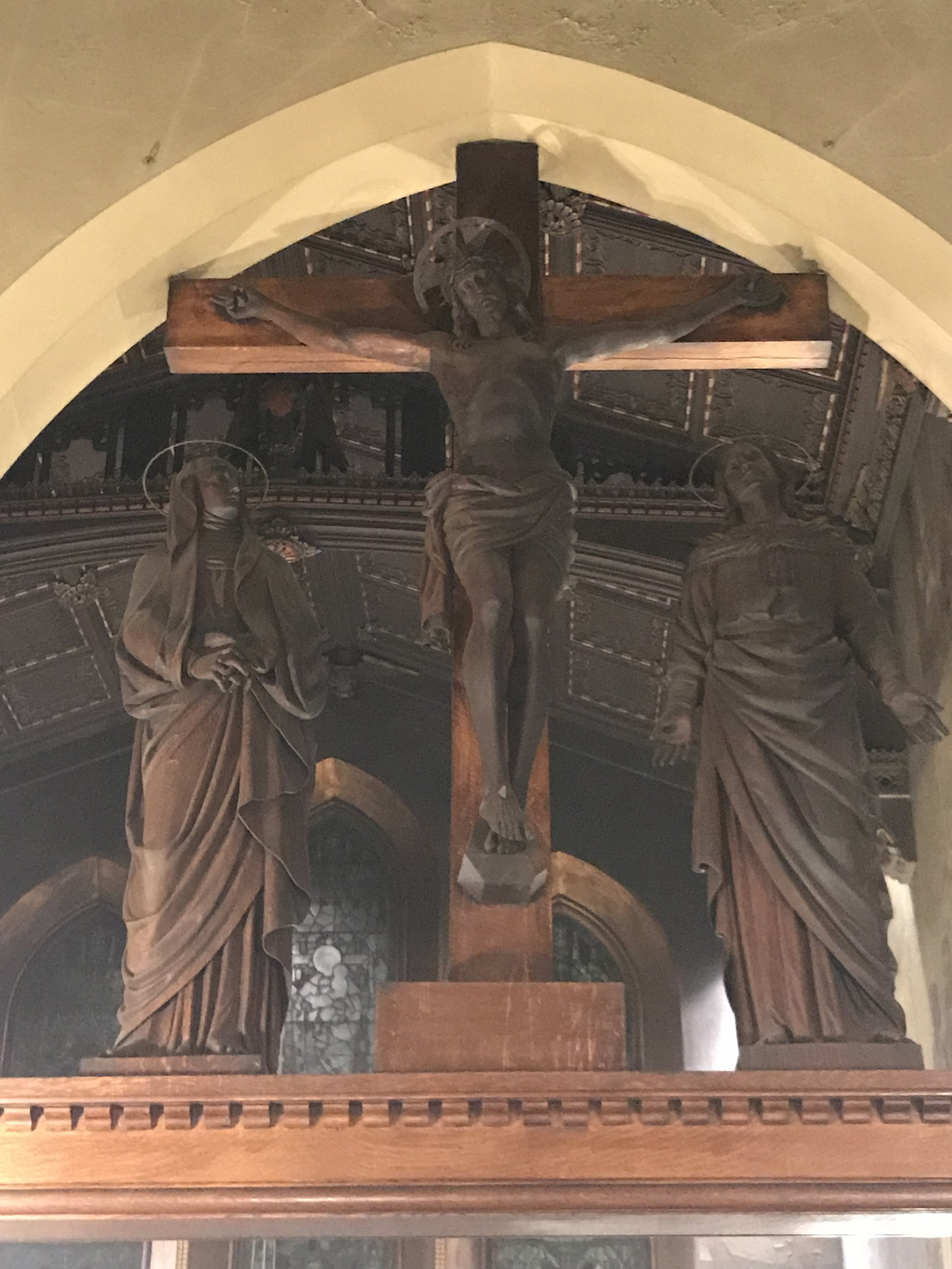 The Rood Beam from Saint Mary's first church home, 228 West 45th Street, was moved to our second and present church home in 1895.   Photo by Br. Damien SSF