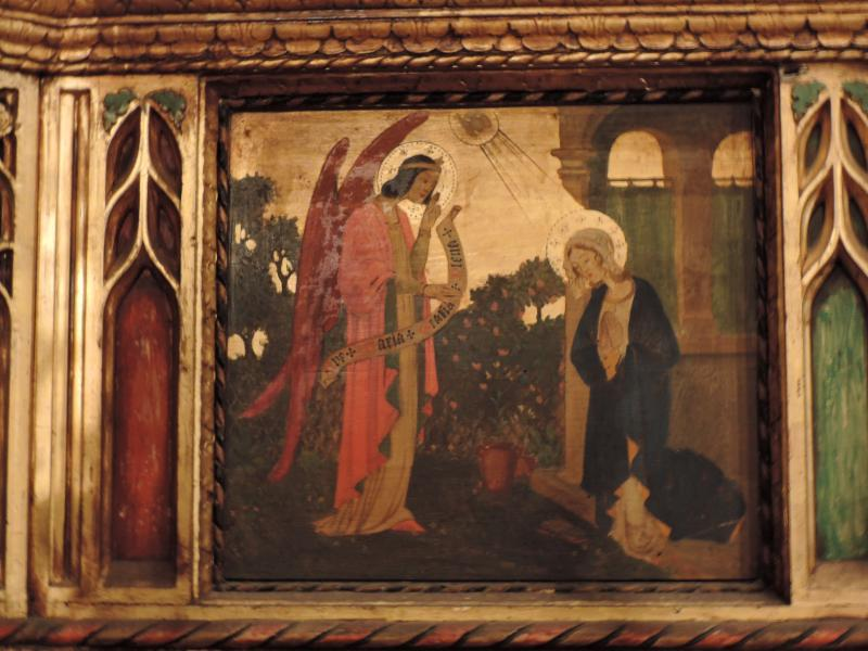 Annunciation panel from the high altar reredos painting by Valentine Francis d'Ogries (1889-1950).  Photo by Br. Damien Joseph SSF