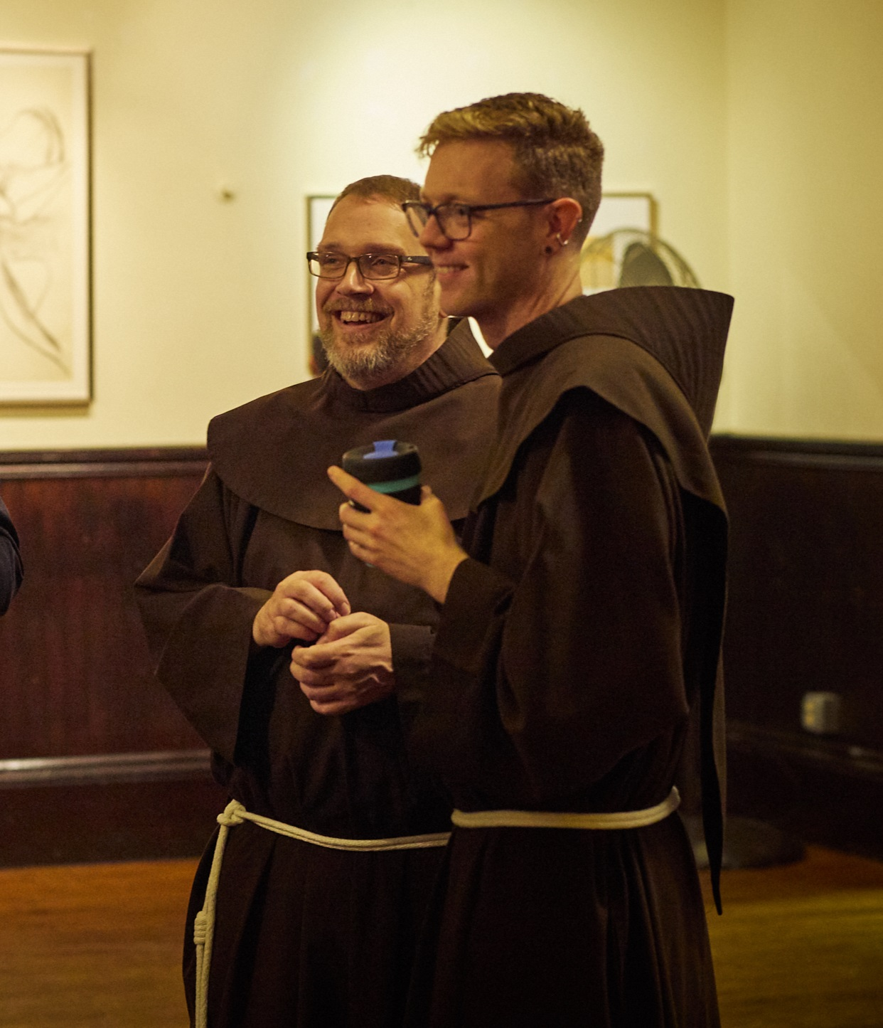 Brother Damien Joseph (L) and Brother Thomas from the Society of Saint Francis