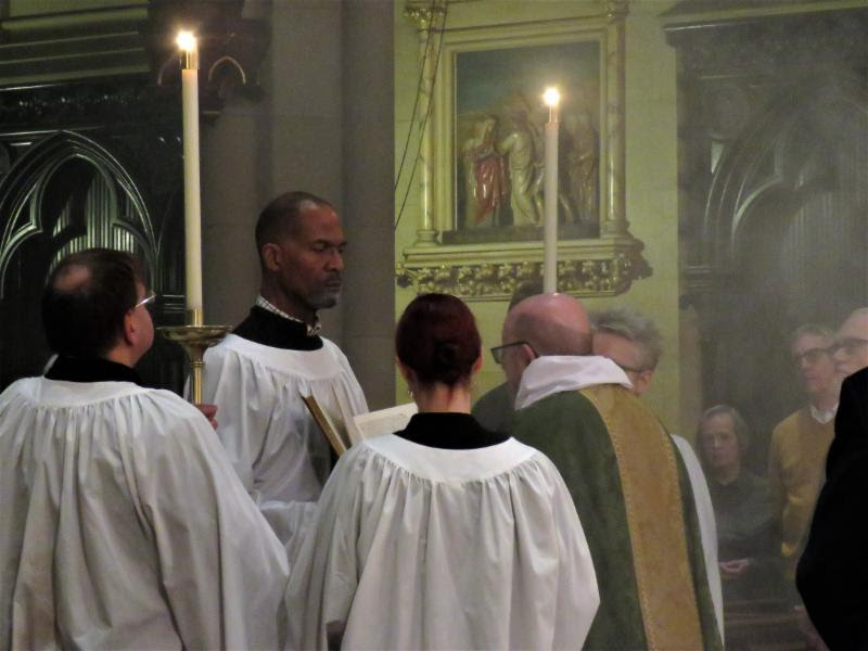 The proclamation of the gospel in the midst of the congregation at Solemn Mass.  Photo by Damien Joseph SSF