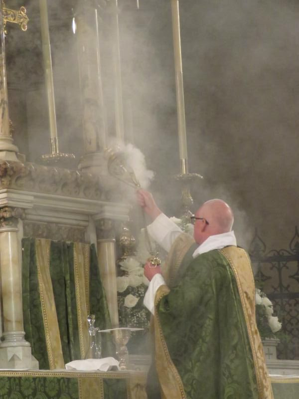 Incense is offered from the preparation of the gifts through the invitation to the congregation to come forward to receive Communion.  Photo by Damien Joseph SSF