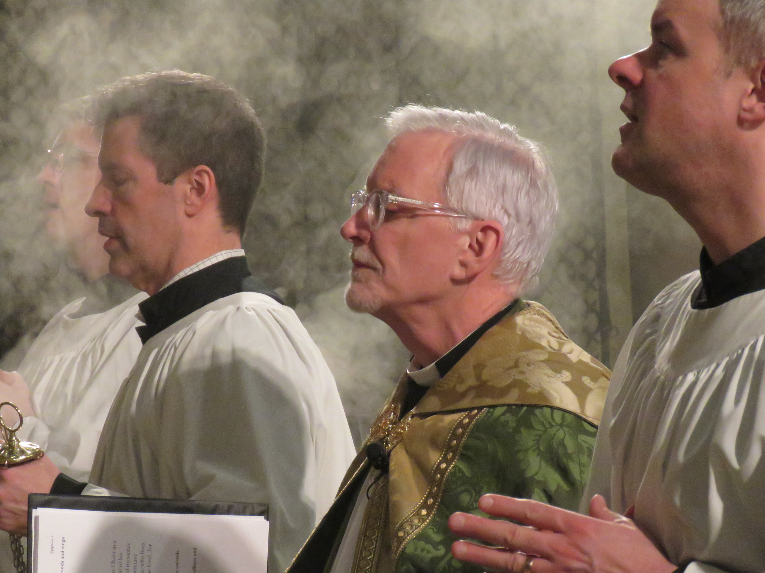 Mark Risinger (L) and Clark Mitchell were among the servers at Evensong & Benediction.  Photo by Damien Joseph SSF
