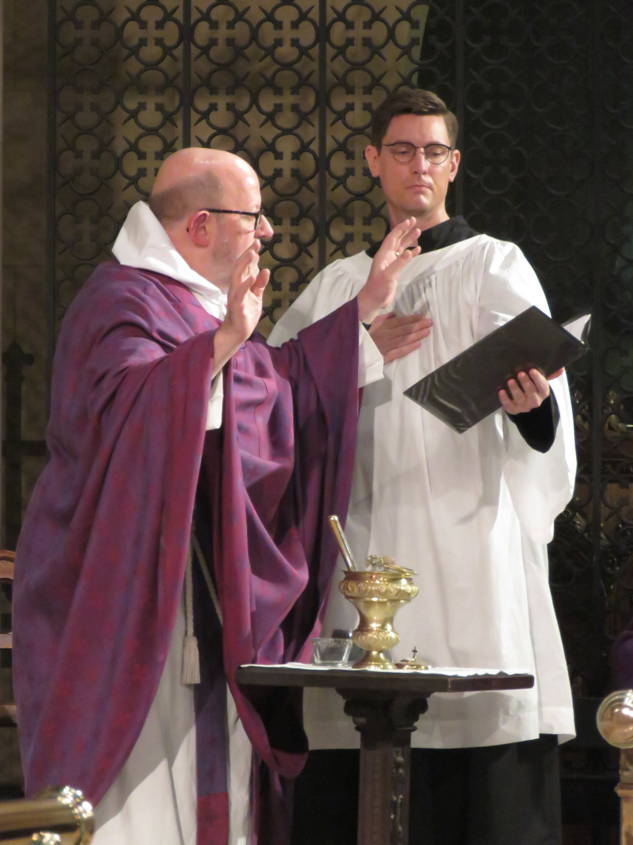 Father Jay Smith was celebrant and preacher for the Solemn Mass on Ash Wednesday; Brendon Hunter was MC.   Photo by Damien Joseph SSF