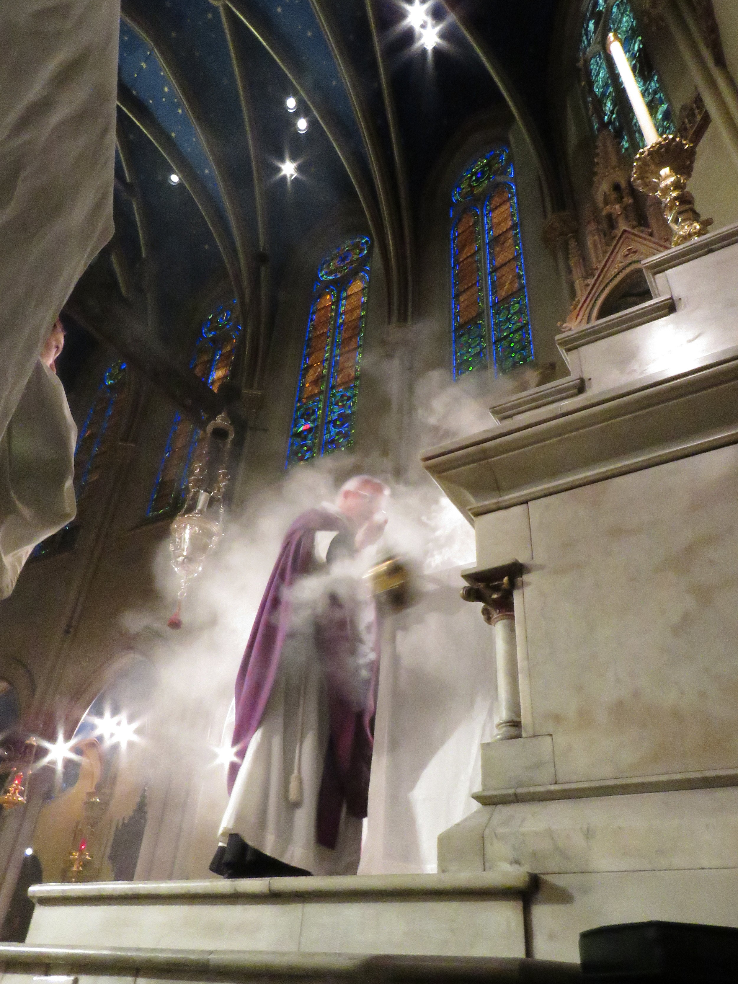 Incense is offered as the choir sings  Kyrie eleison  from  Missa Cuiuivis Toni  by William Ockegham ( c.  1420-1497).  Photo by Damien Joseph SSF