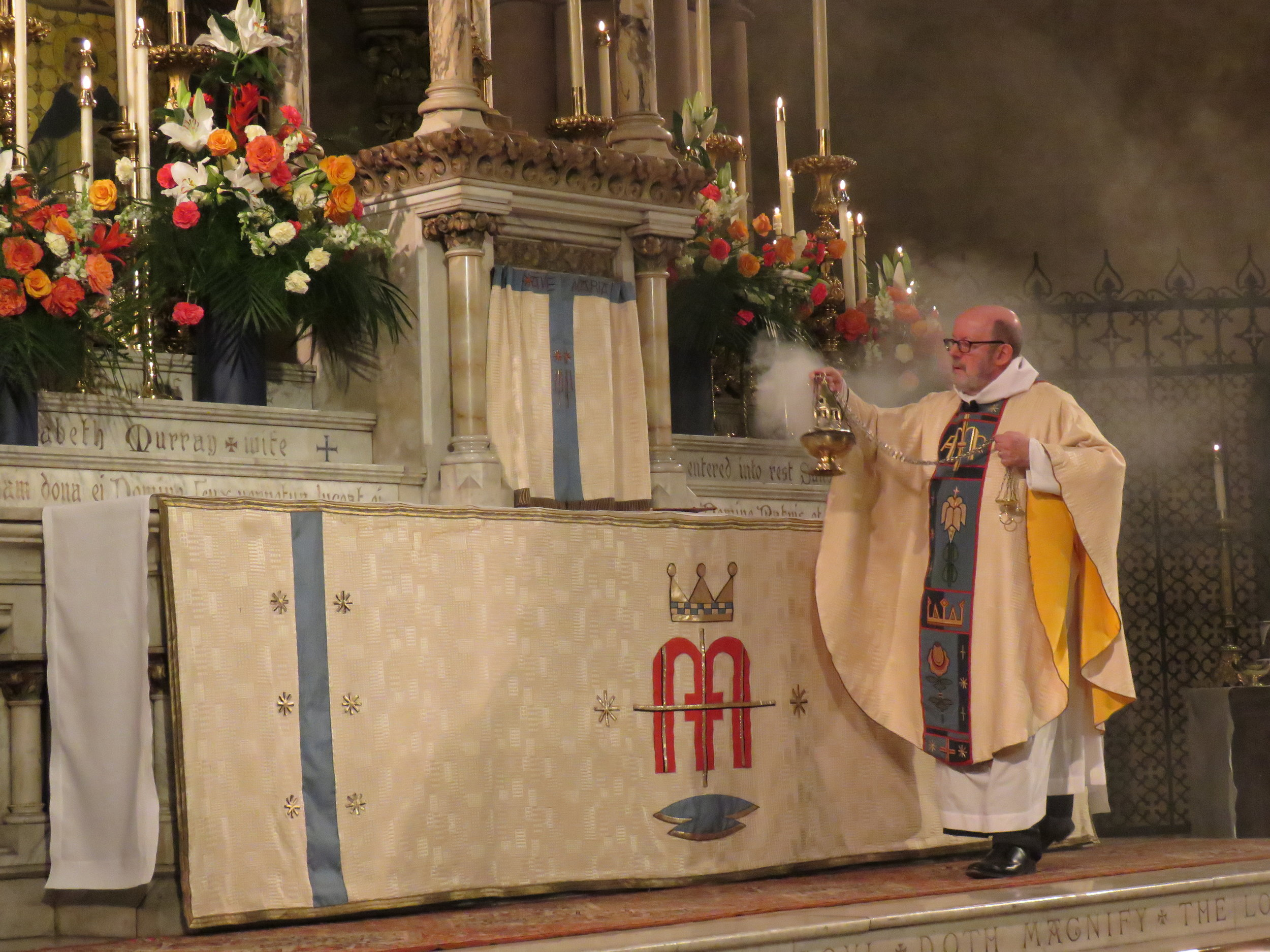 Incense is offered during the singing of Gloria in excelsis.  Photo by Damien Joseph SSF