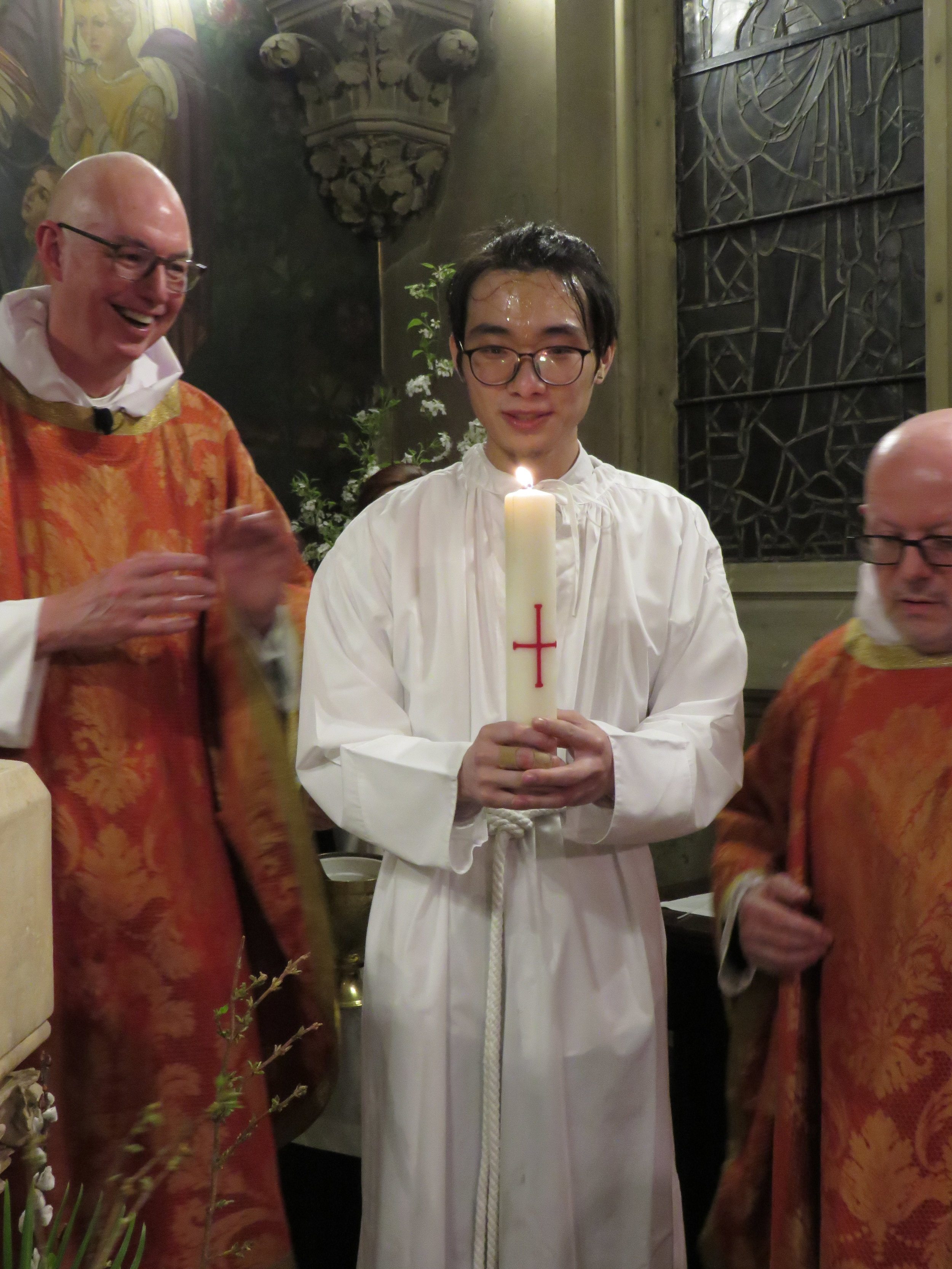 Washed, Sealed, Clothed, and Presented with the Paschal Light.  Photo by Damien Joseph SSF