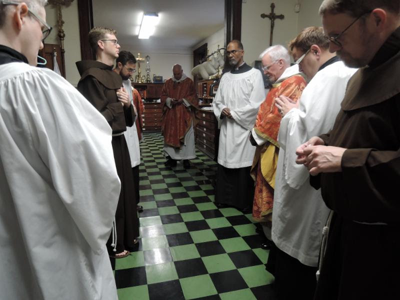 In the sacristy before Mass.   Photo by Brendon Hunter