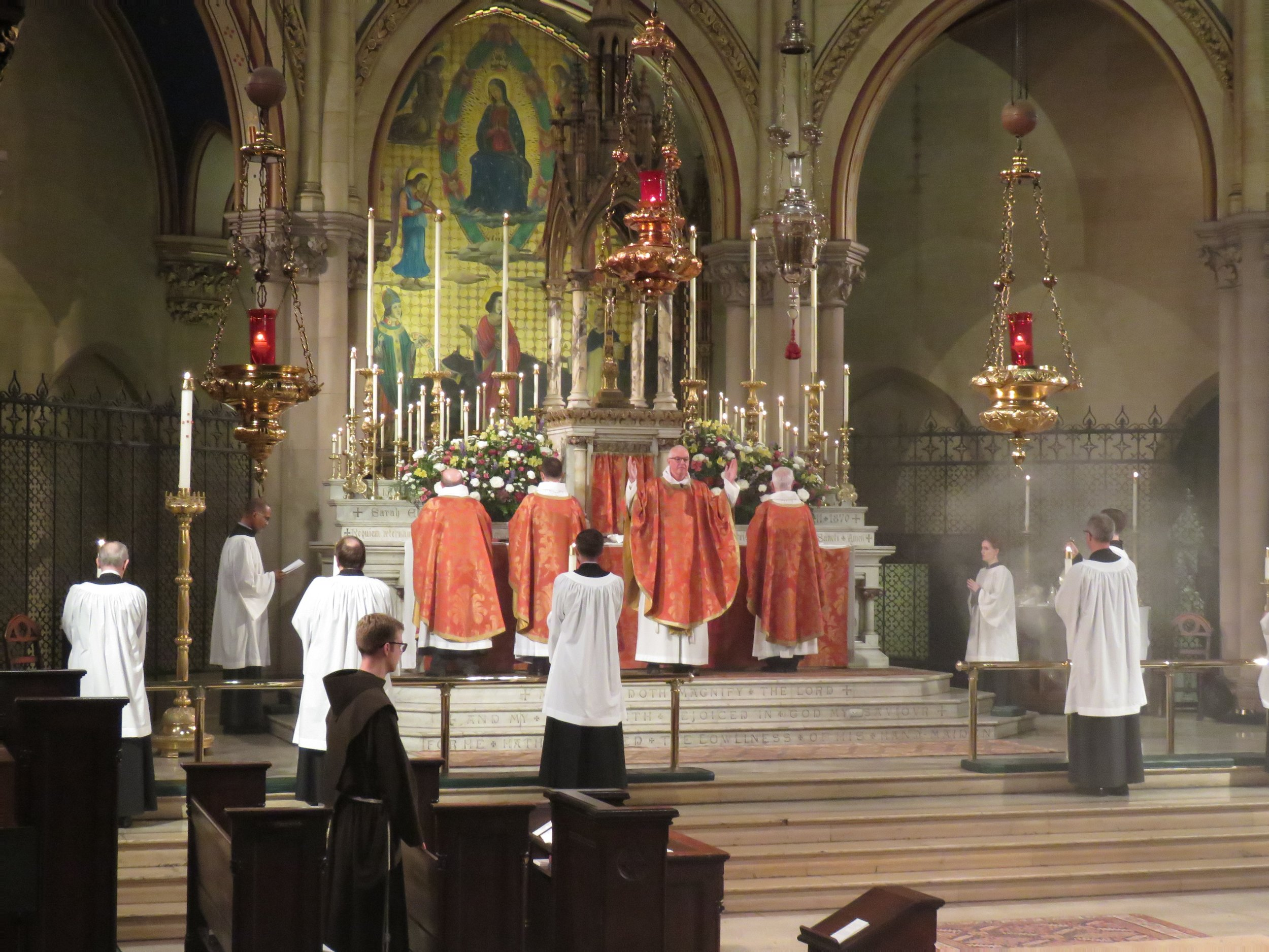 The Great Thanksgiving begins, Solemn Mass, Ascension Day, May 30, 2019. Forty candles were on the high altar for the Solemn Mass.  Photo: Damien Joseph SSF
