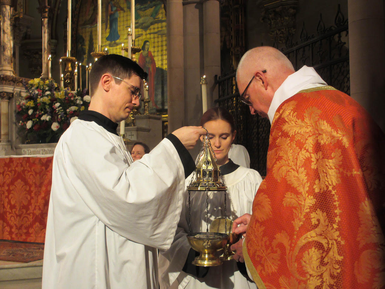 Incense is prepared for the proclamation of the Gospel.     Photo: MaryJane Boland