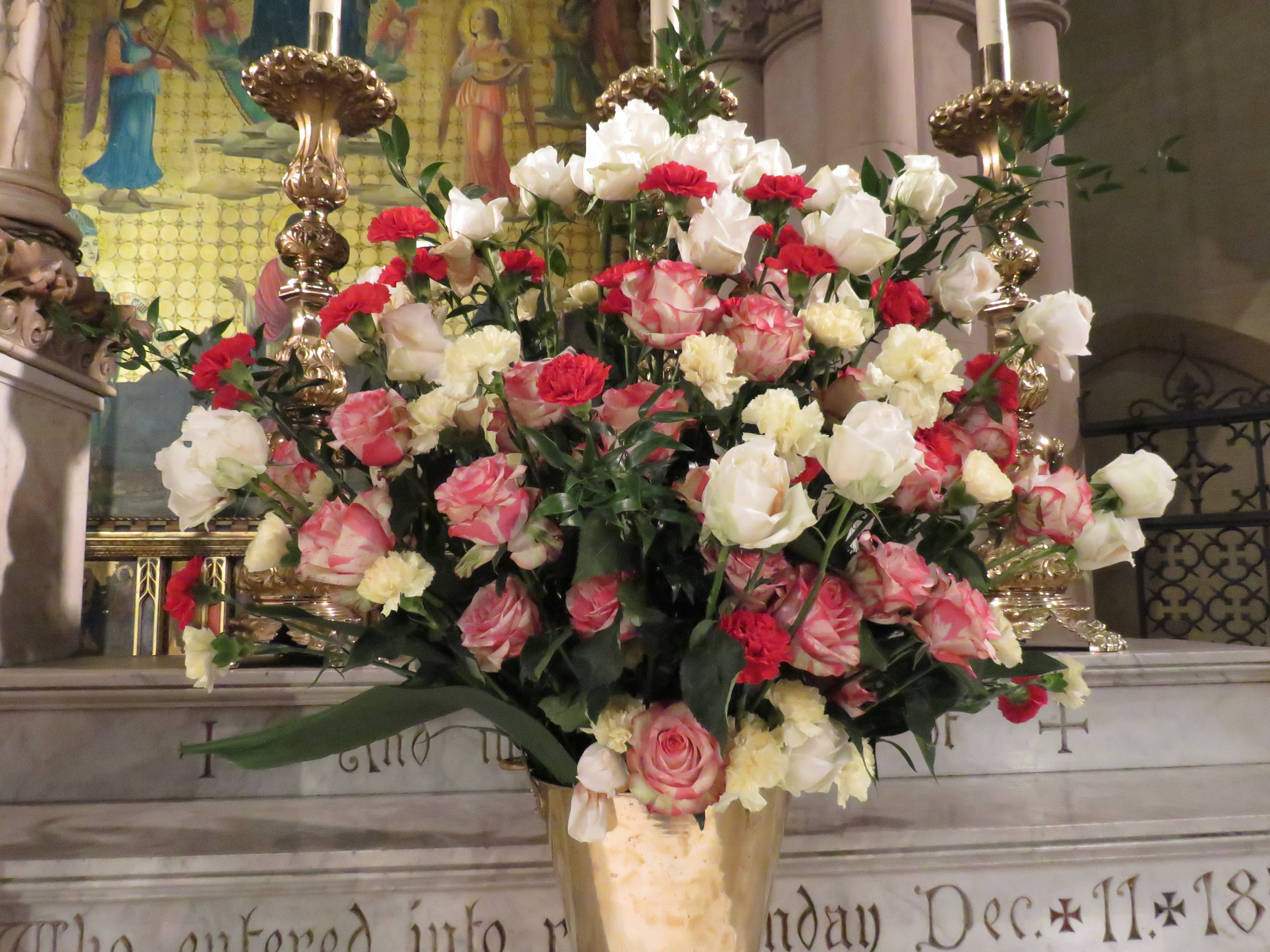 The flowers were given to the glory of God and in loving memory of Thomas G. Moran by his brother John Moran.     Photo: Damien Joseph SSF
