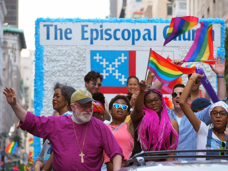 Bishop Andrew Dietsche and fellow Episcopalians at Gay Pride March 2017    Photo:  Kara Flannery and Tim Martin