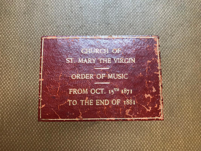 There is an extensive record of music sung at Saint Mary's in the rectory. The photo of the label of earliest volume is above. The first church opened on December 8, 1870.  Photo: Stephen Gerth