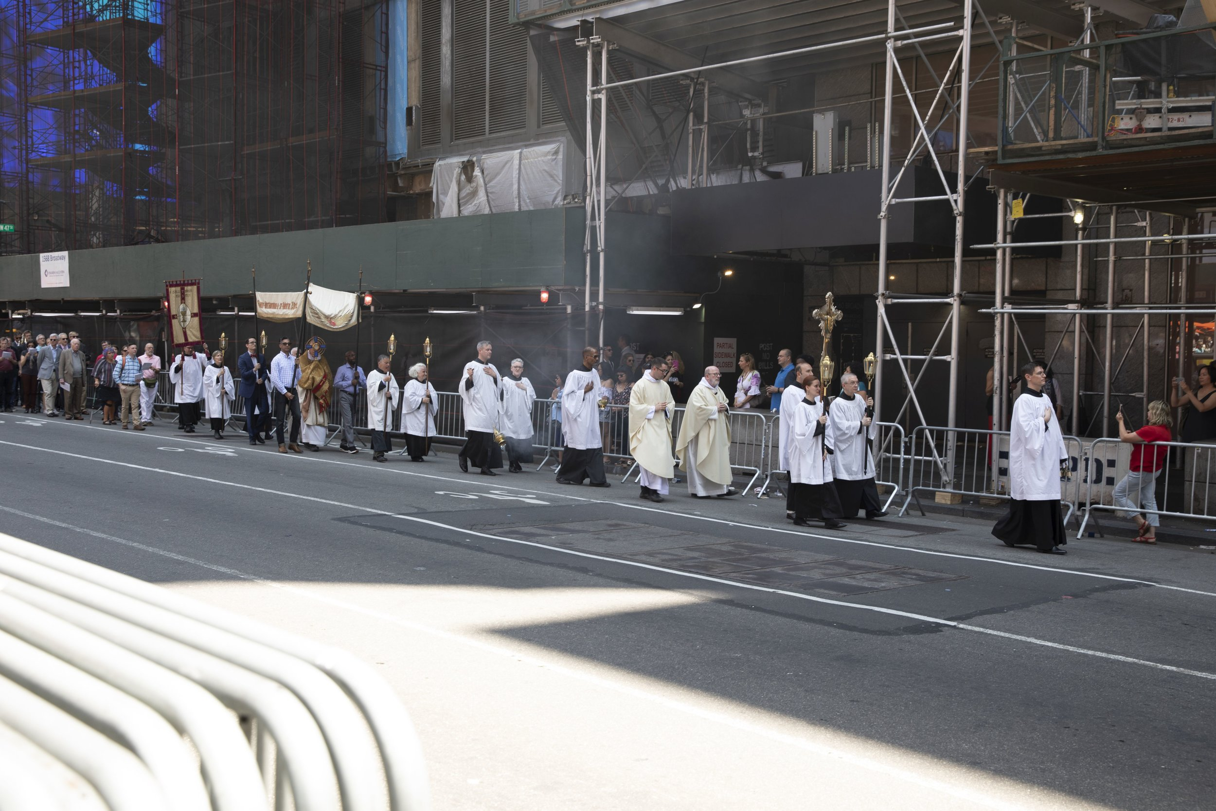 The procession returning to the church.    Photo: Pamela Pasco