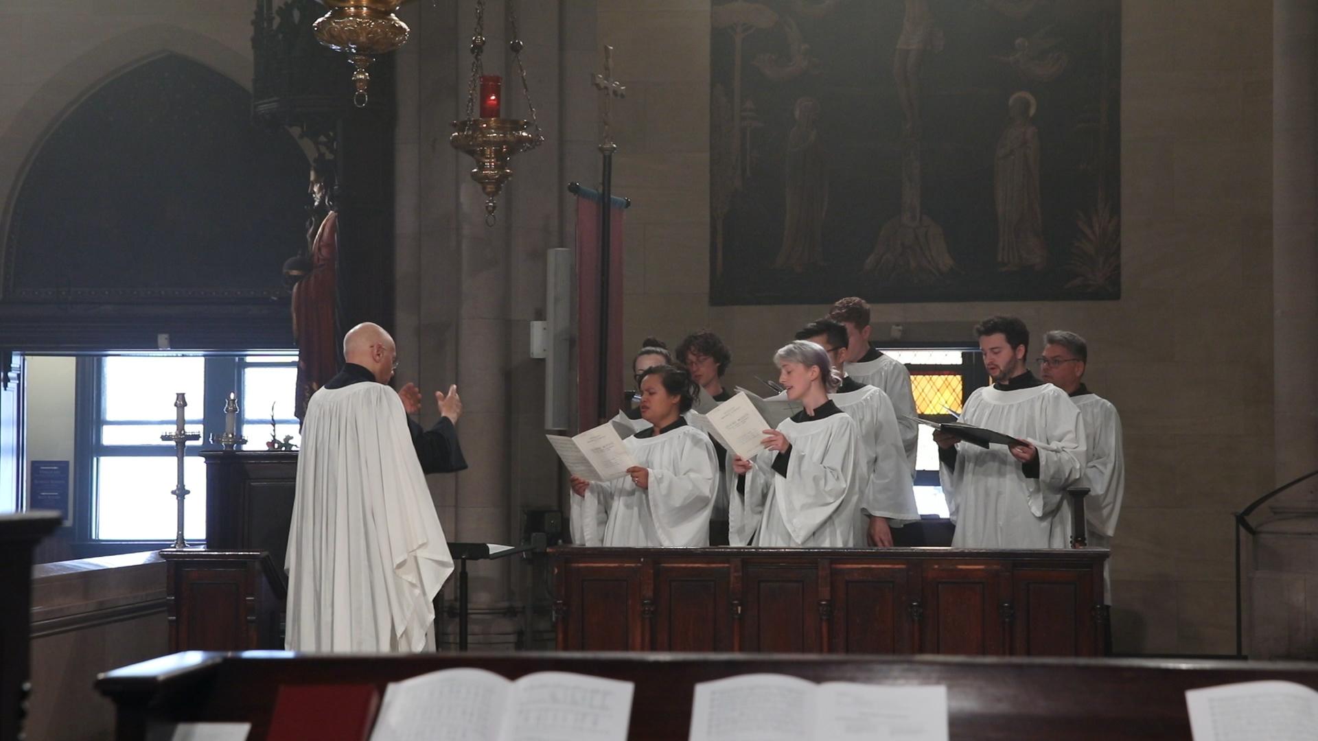 During Benediction, the choir sang a setting of  Tantum ergo  by Maurice Duruflé (1902-1986).  Photo: Pamela Pasco