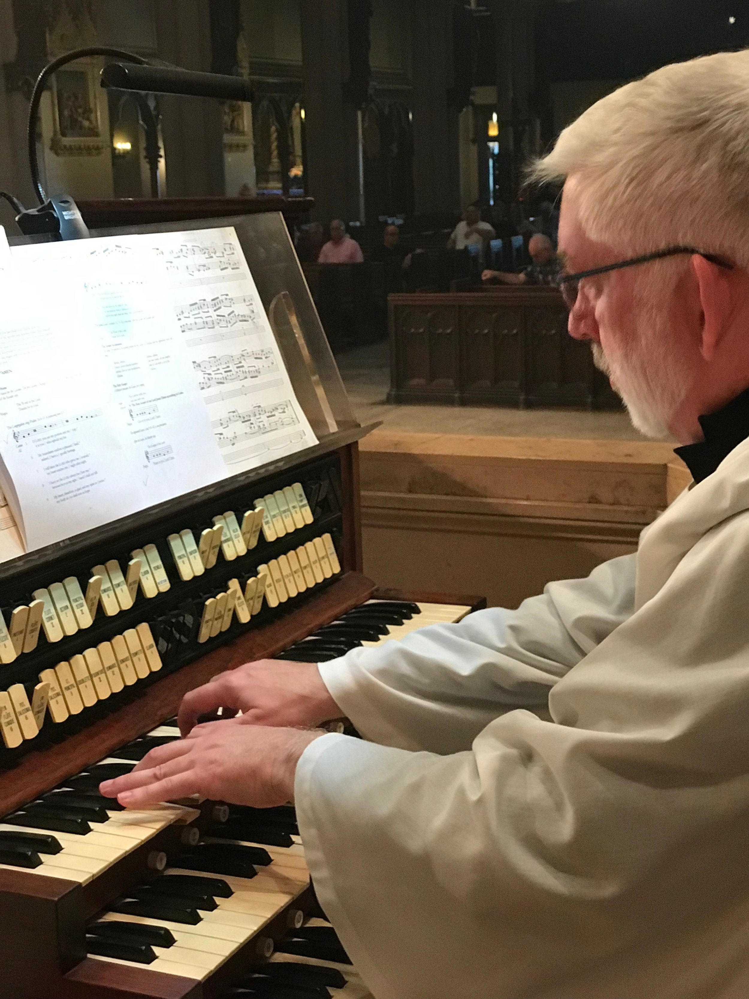 Parishioner Clark Anderson played the Solemn Mass on Sunday, June 30, 2019, while Dr. David Hurd was attending the annual meeting of the Association of Anglican Musicians.  Photo: Damien Joseph SSF