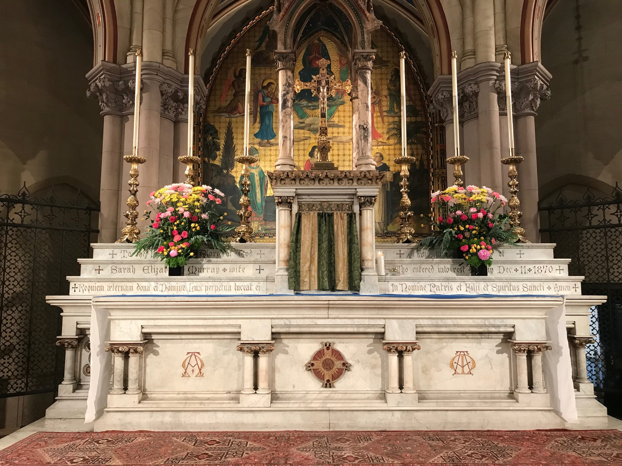 The high altar, Sunday, June 30, 2019. The flowers were given to the glory of God and in loving memory of Ann Howard Morgan and Cyril C. Morgan.  Photo: Damien Joseph SSF