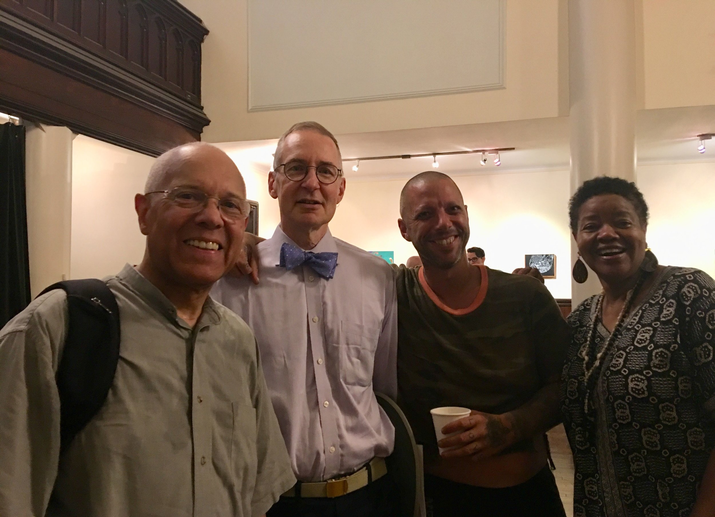 At Coffee Hour on Sunday: (l. to r.) David Hurd, Gregory Eaton, Mozzy, and Cooki Winborn.  Photo:  Renée Pecquex