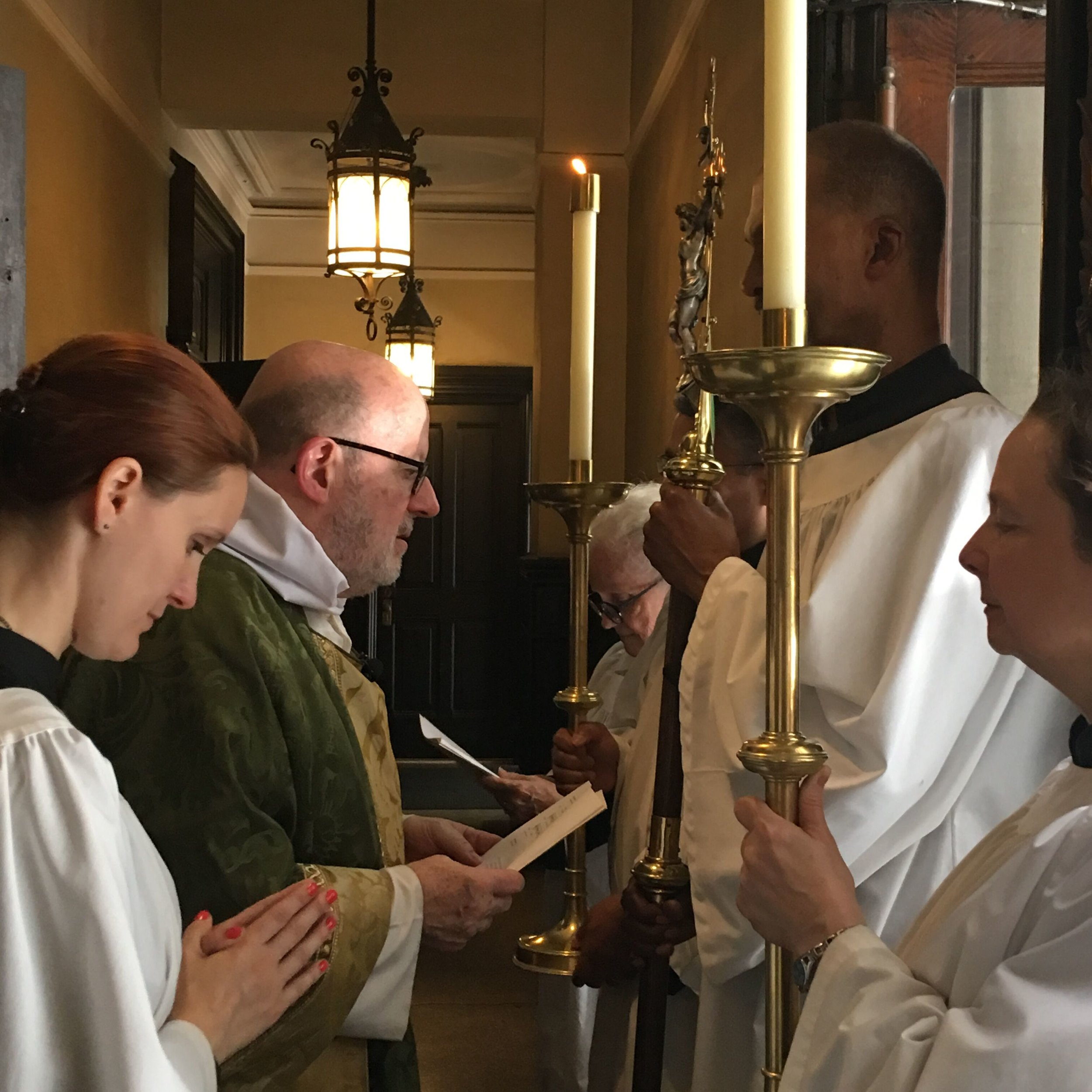 "In the Narthex at the end of Mass: ""Blessed, praised, worshiped, hallowed, and adored be Our Lord Jesus Christ . . . ""  Photo: Renée Pecquex"