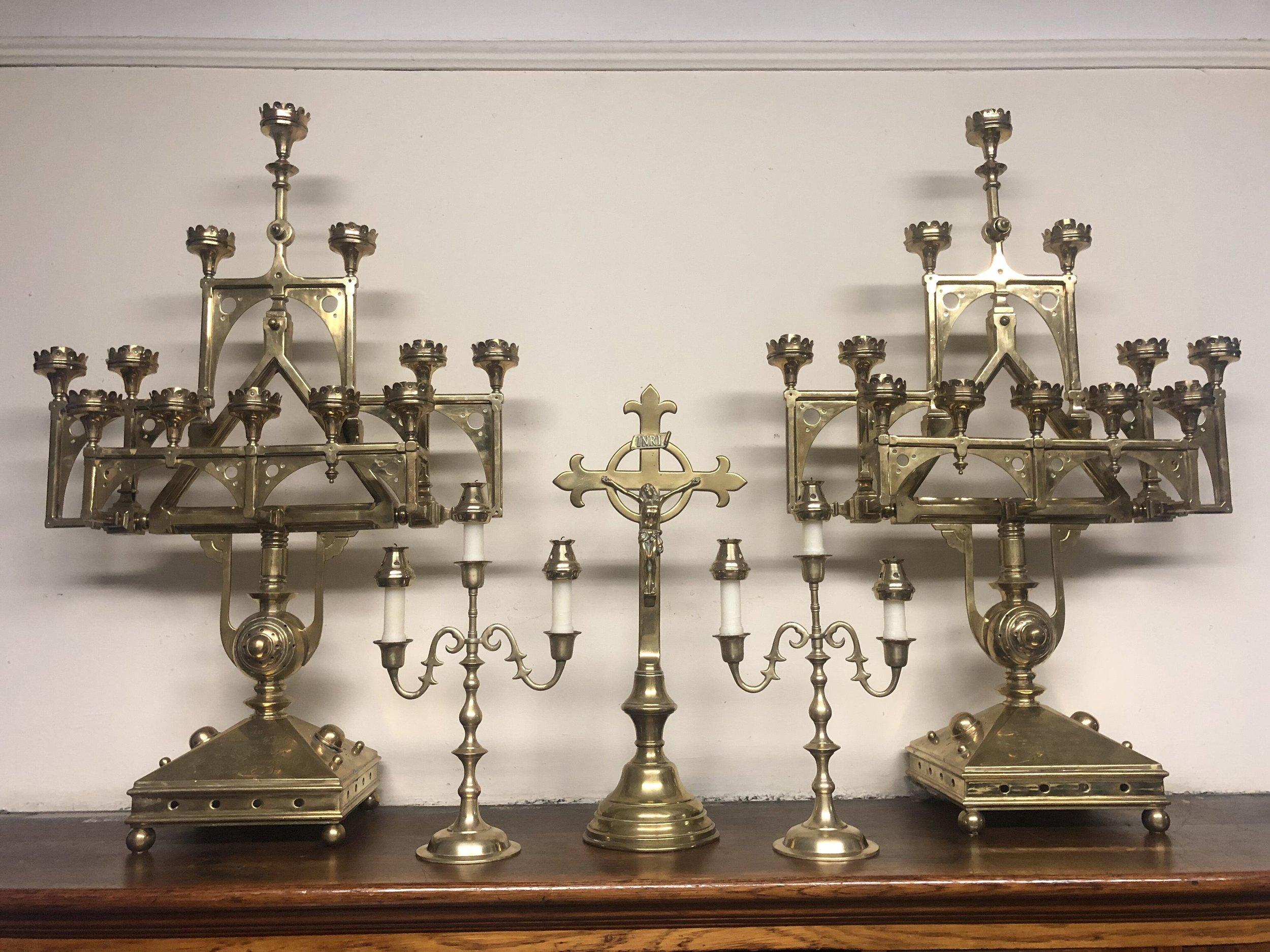 Crucifix and candelabra, stored in the Sacristy  Photo:  Brendon Hunter