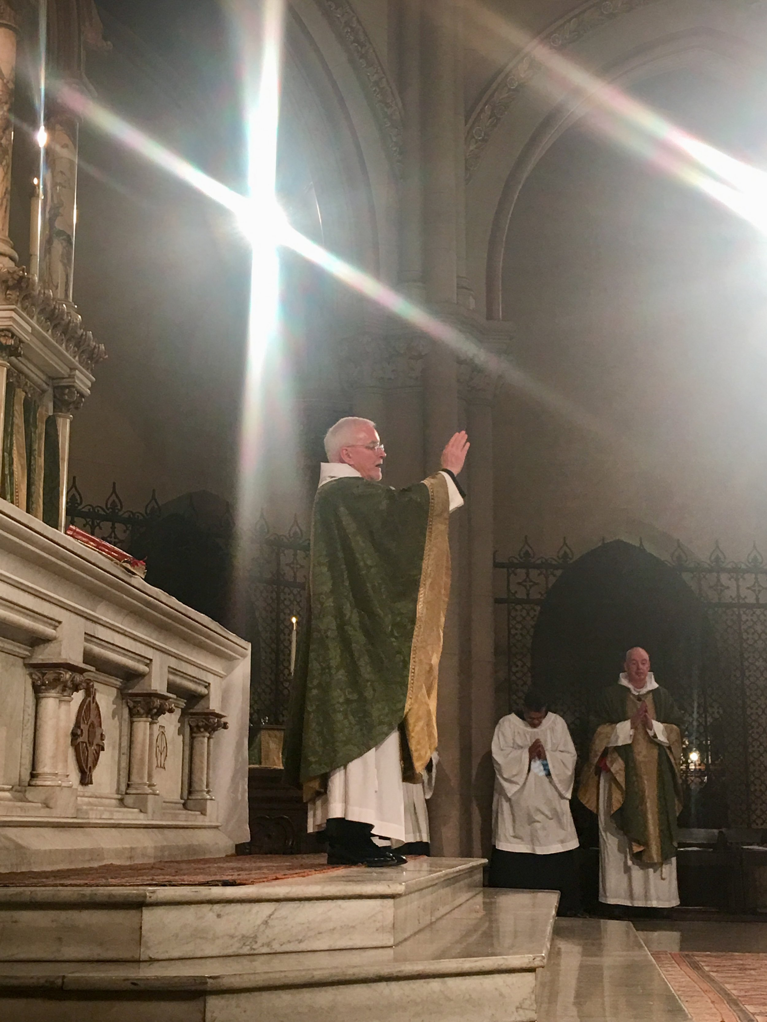 Father Jim Pace was celebrant and preacher for the Solemn Mass on Sunday, August 4, 2019.    Photo:  Renee Pecquex
