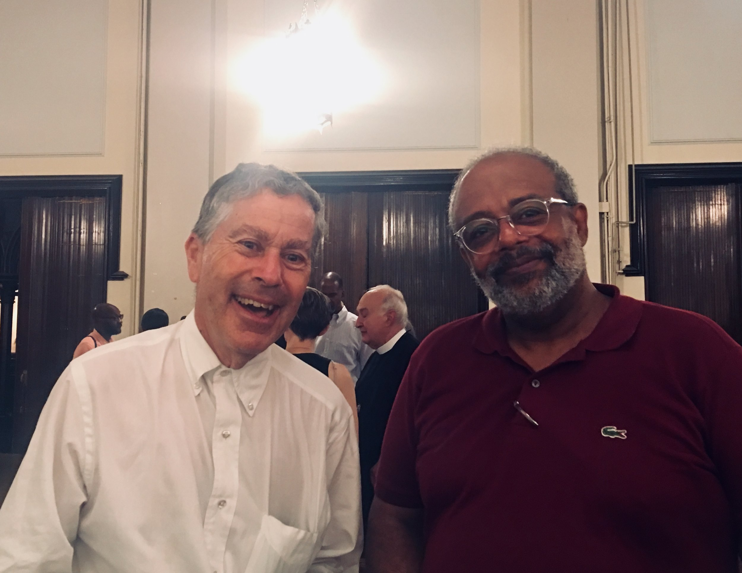 Parishioners Kenneth Isler (L) and Blair Burroughs at Coffee Hour after the Solemn Mass.    Photo:  Renee Pecquex