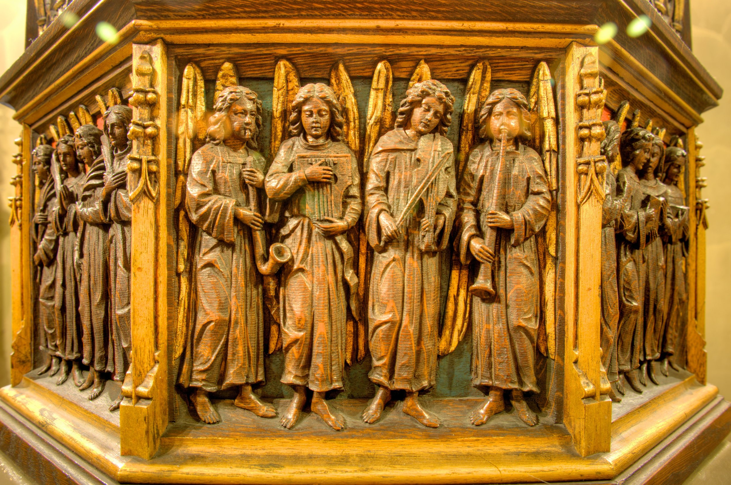 Font Cover (detail). Baptistery, Church of Saint Mary the Virgin. Carved by Johannes Kirchmayer (1922).  Photo:  Brian Kutner