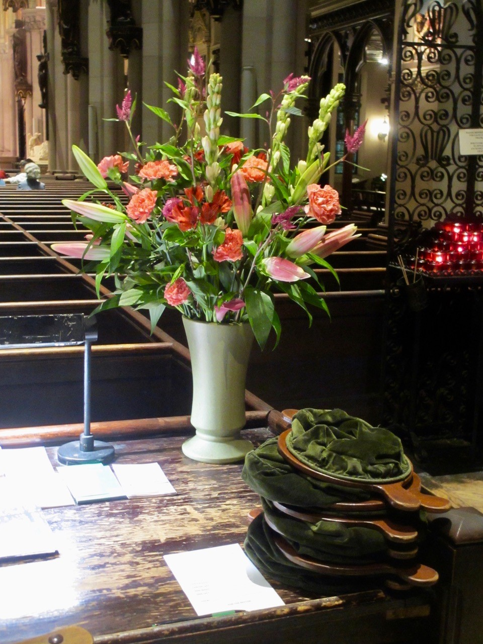 Last Sunday the flowers on the altar and in the church were given by Margaret Malone in memory of members of her family and a close friend. Design by J. Grace Mudd.  Photo:  Mary Jane Boland.