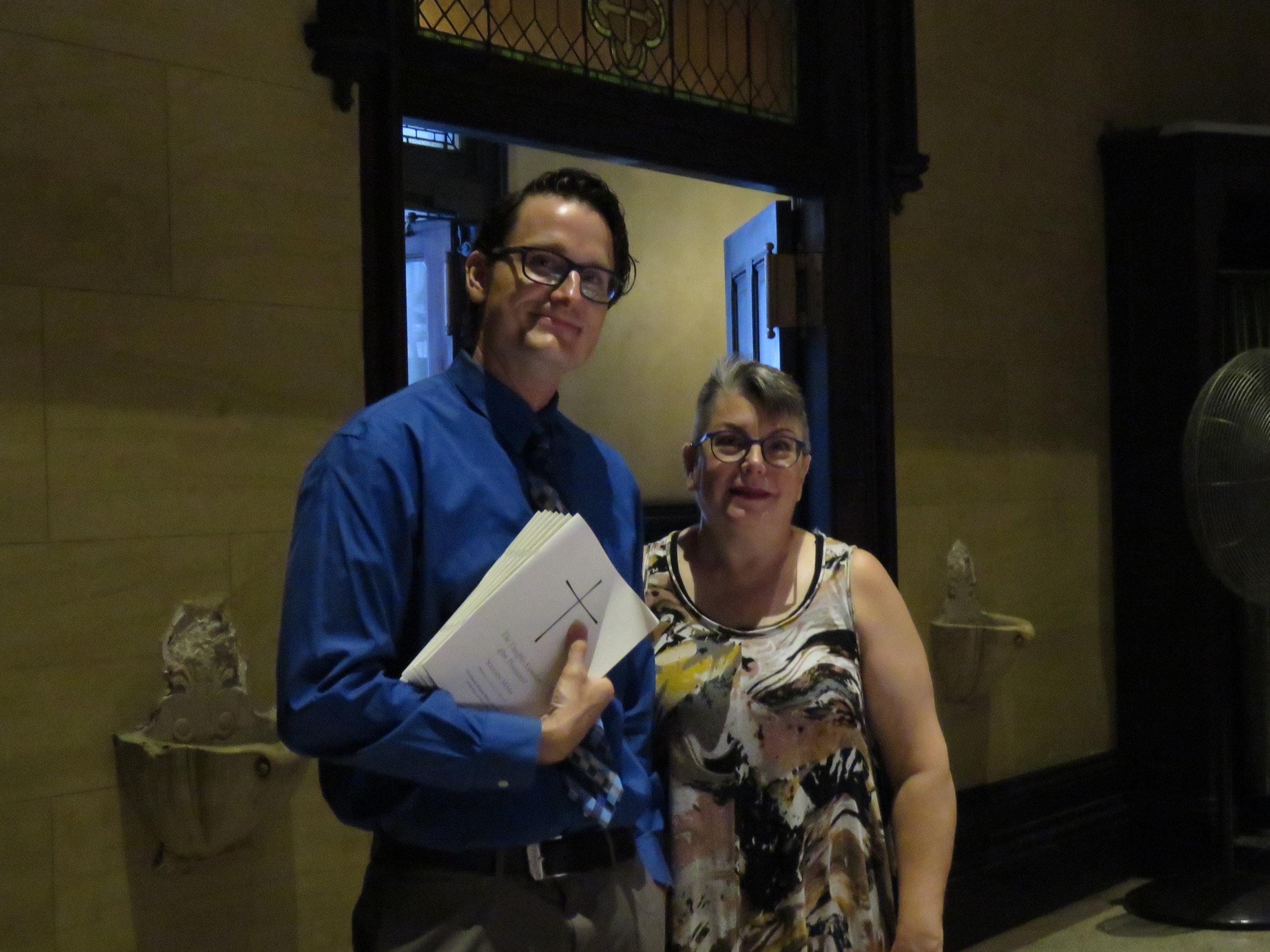 Jason Mudd and Mary Robison were part of the usher team on Sunday.  Photo:  Damien Joseph SSF