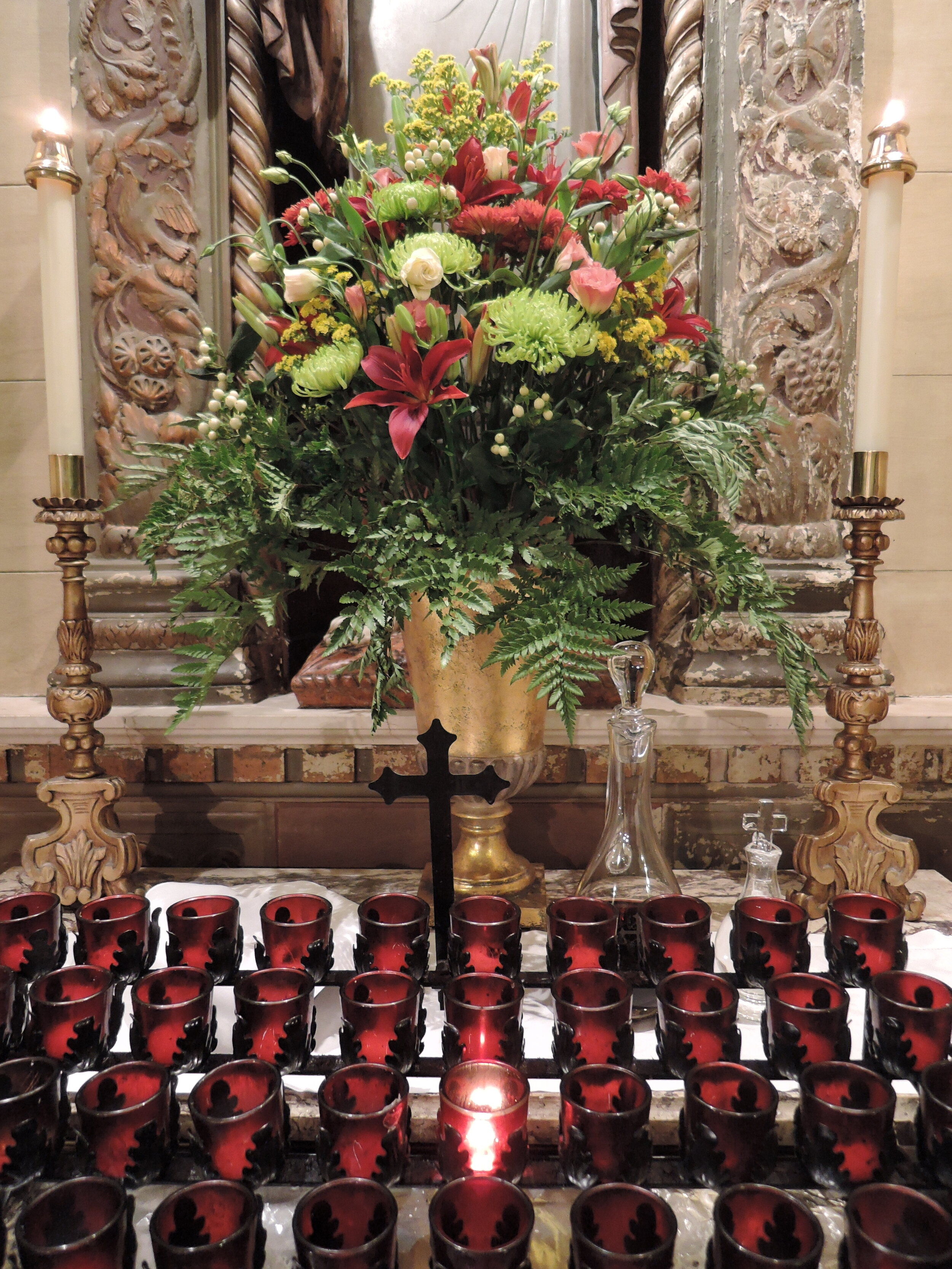 The Shrine of the Sacred Heart. The bread, wine, and water for the Eucharist is placed here before the beginning of Solemn Mass.  Photo:  Grace Mudd
