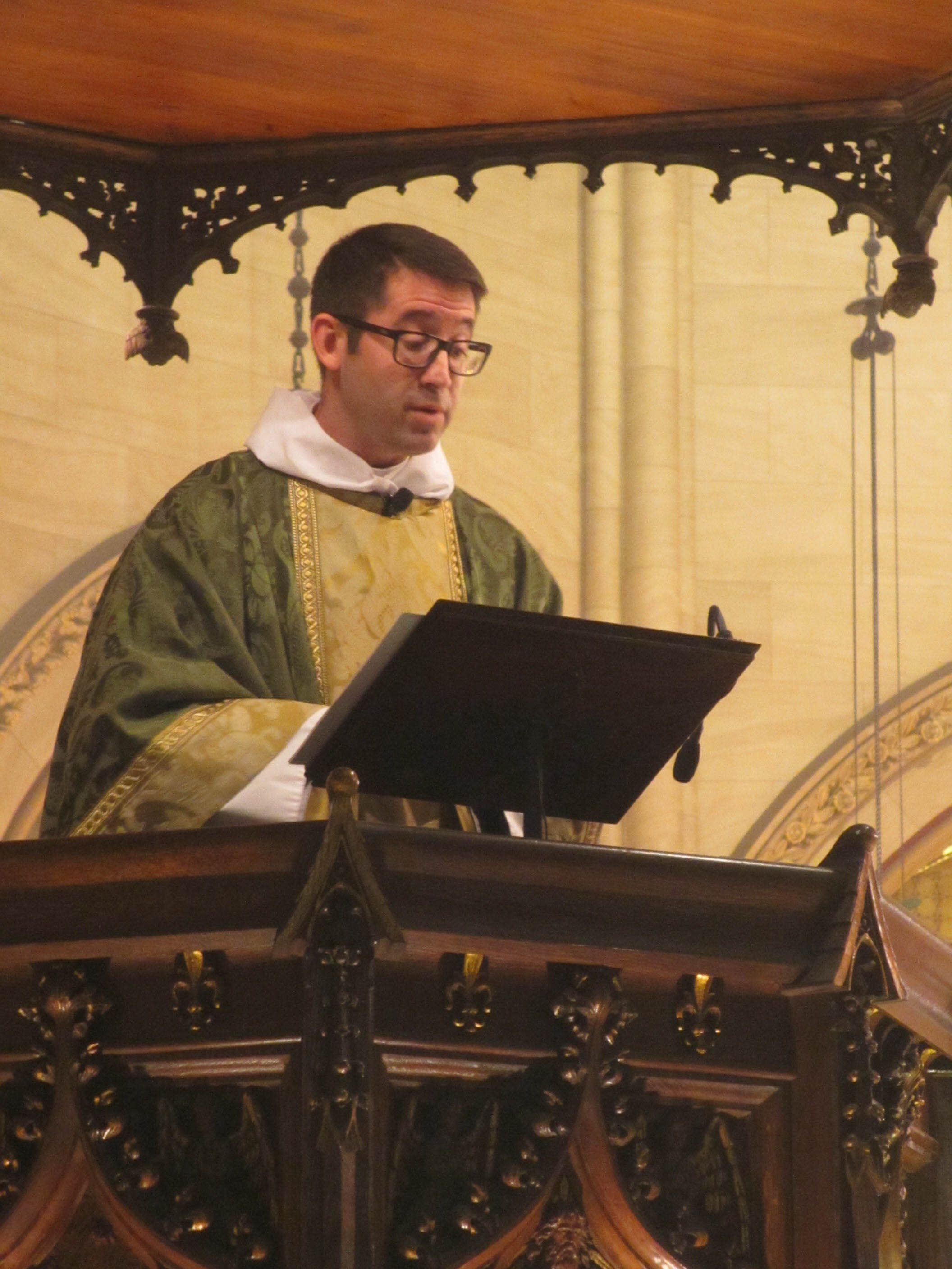 Father Matt Jacobson was celebrant and preacher for the Solemn Mass on Sunday, September 22.    Photo:  MaryJane Boland