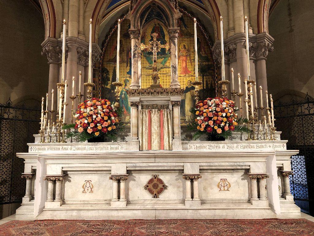 The High Altar on Michaelmas, Sunday, September 29, 2019. Floral design by Marie Rosseels  Photo:  Brendon Hunter