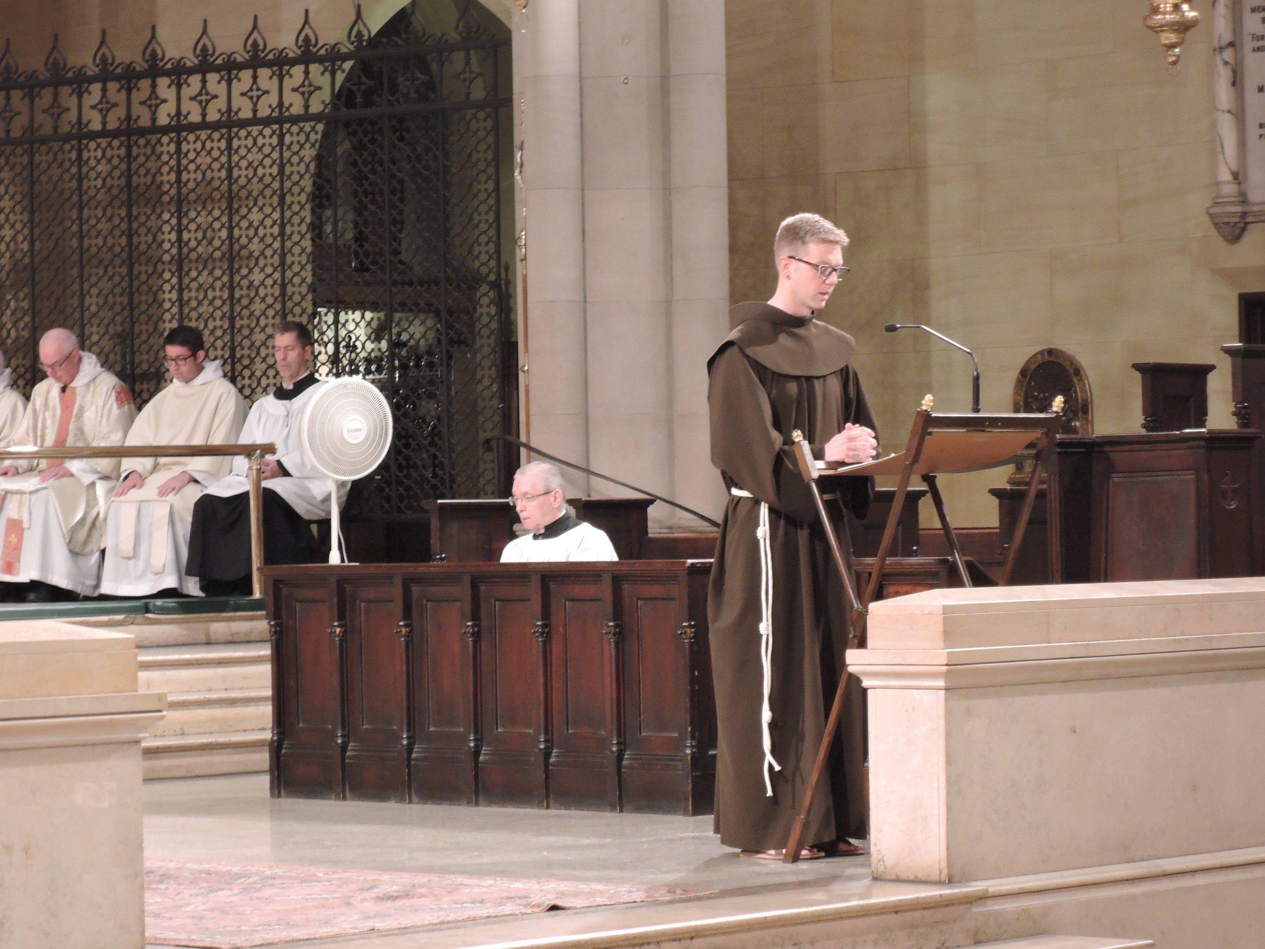 Brother Thomas Steffensen SSF chanted the second reading on Michaelmas.  Photo:  Grace Mudd