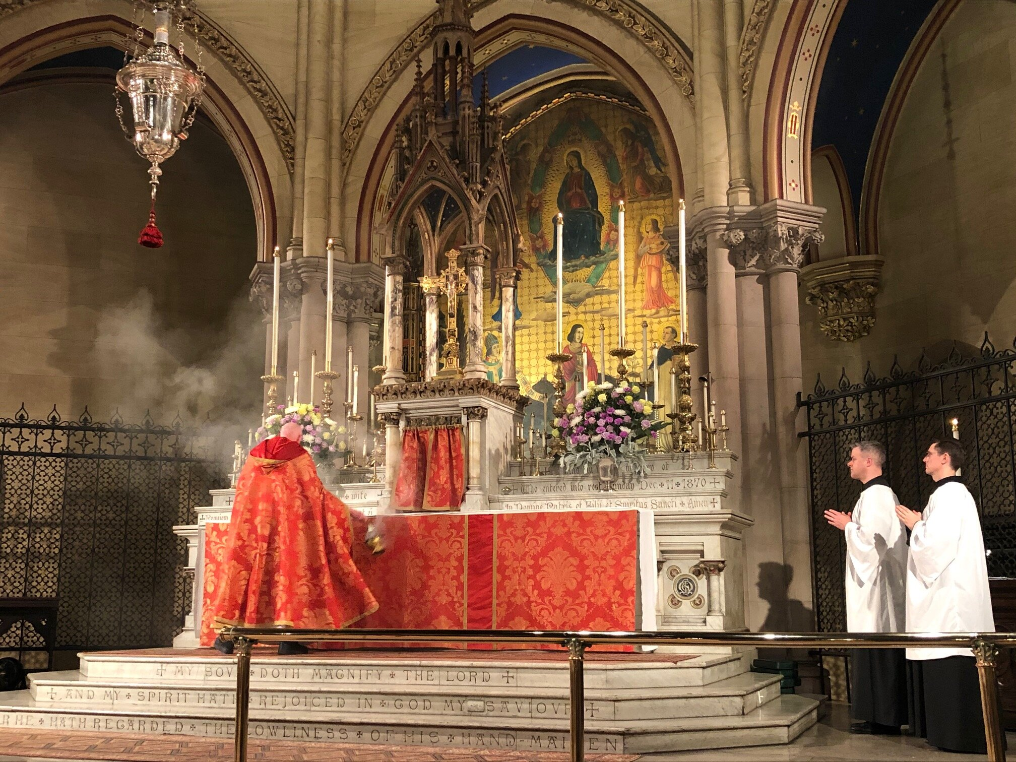 Our celebration of All Saints' Day began on the eve with Solemn Evensong. Incense is offered during the singing of the   Song of Mary: Magnificat. Photo:   Rick Miranda