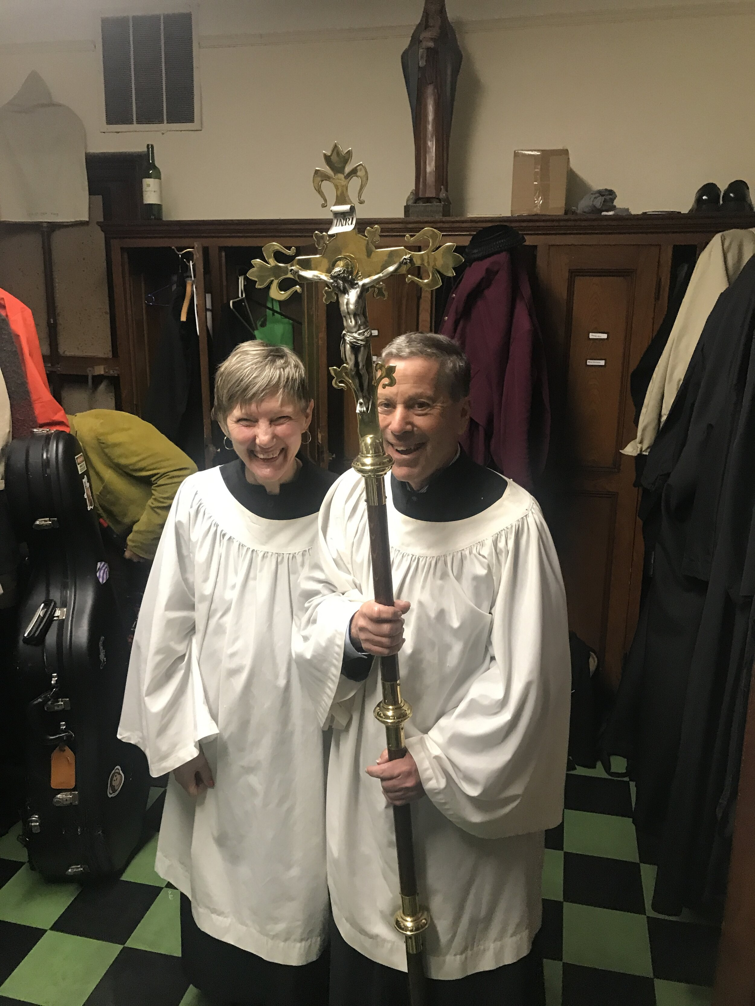 Smiles in the sacristy before the Solemn Mass on Sunday, October 27.   Photo:   Clark Mitchell