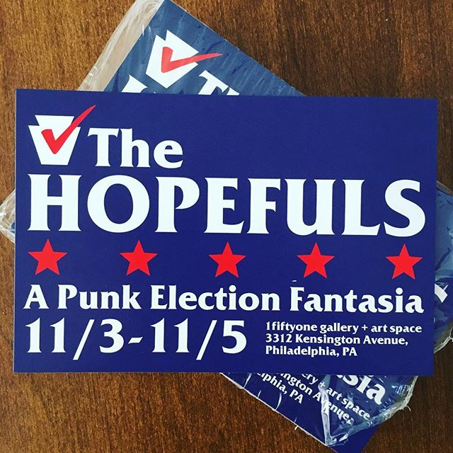 Election Day is coming = our final shows are coming. 11/3-11/5 @ 1fiftyone gallery, FREE (as in 'land of the'). Help us make these shows happen by donating (link in bio)! #america #politics #punk #theatre #crowdfunding #hopefuls2016 #theendisnigh