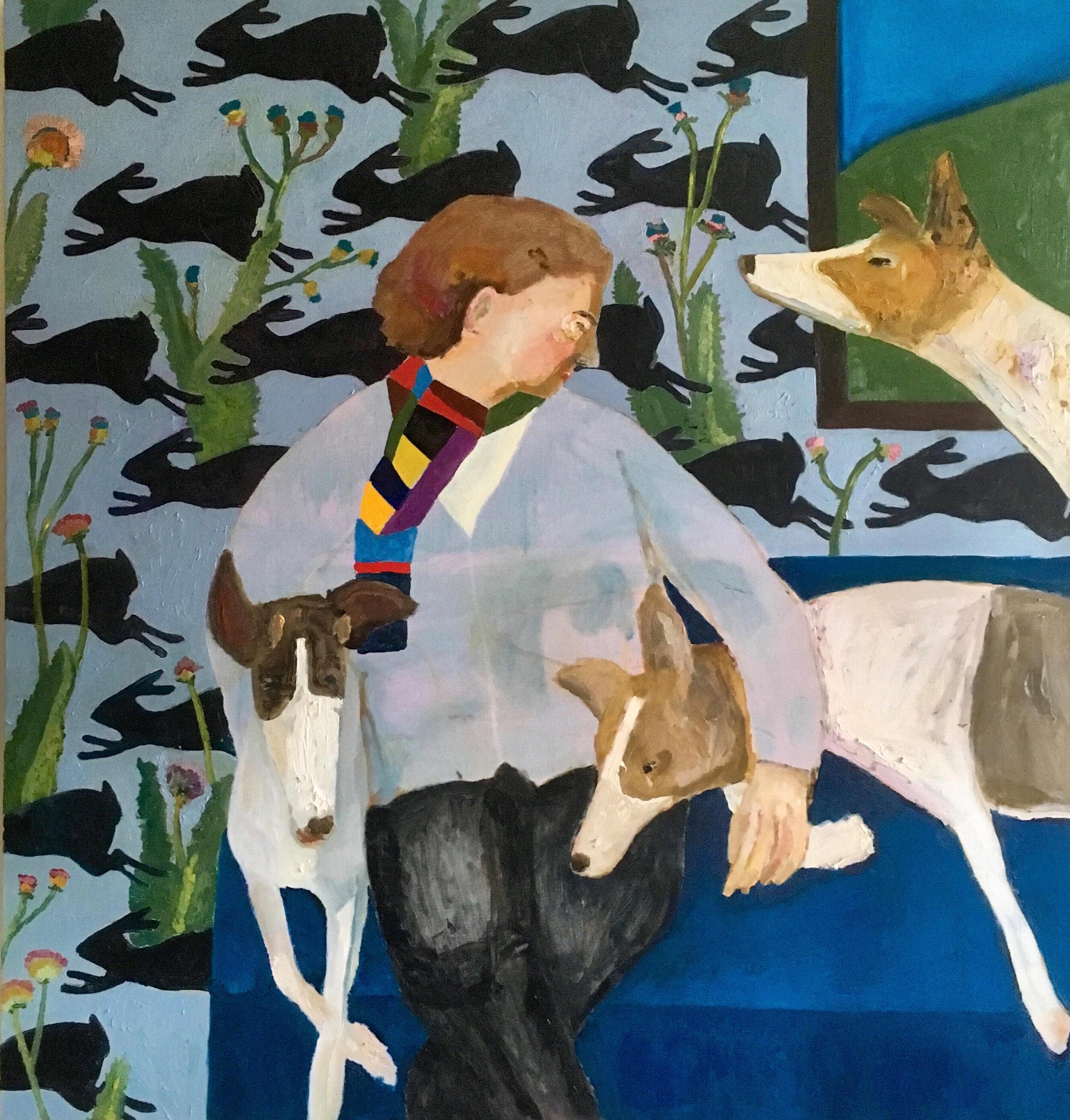 Girl with Greyhounds