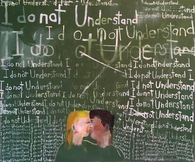 Kissing Couple Chalkboard