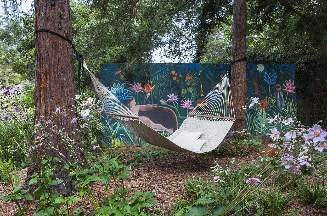 Cool outdoor living boho inspired hammock mural wall art - Rustic Canyon - Los Angeles garden design by Campion Walker Landscapes.jpg