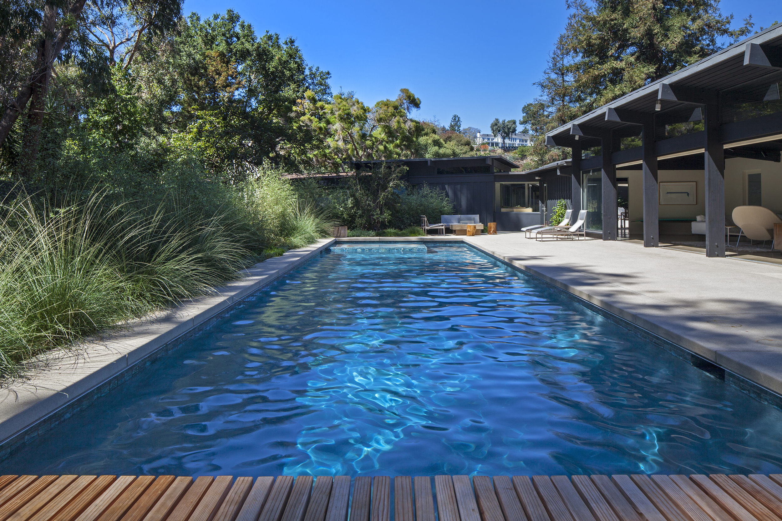 Pool design with ipe deck construction and natural grass landscape - Rustic Canyon - Los Angeles garden design by Campion Walker Landscapes.jpg