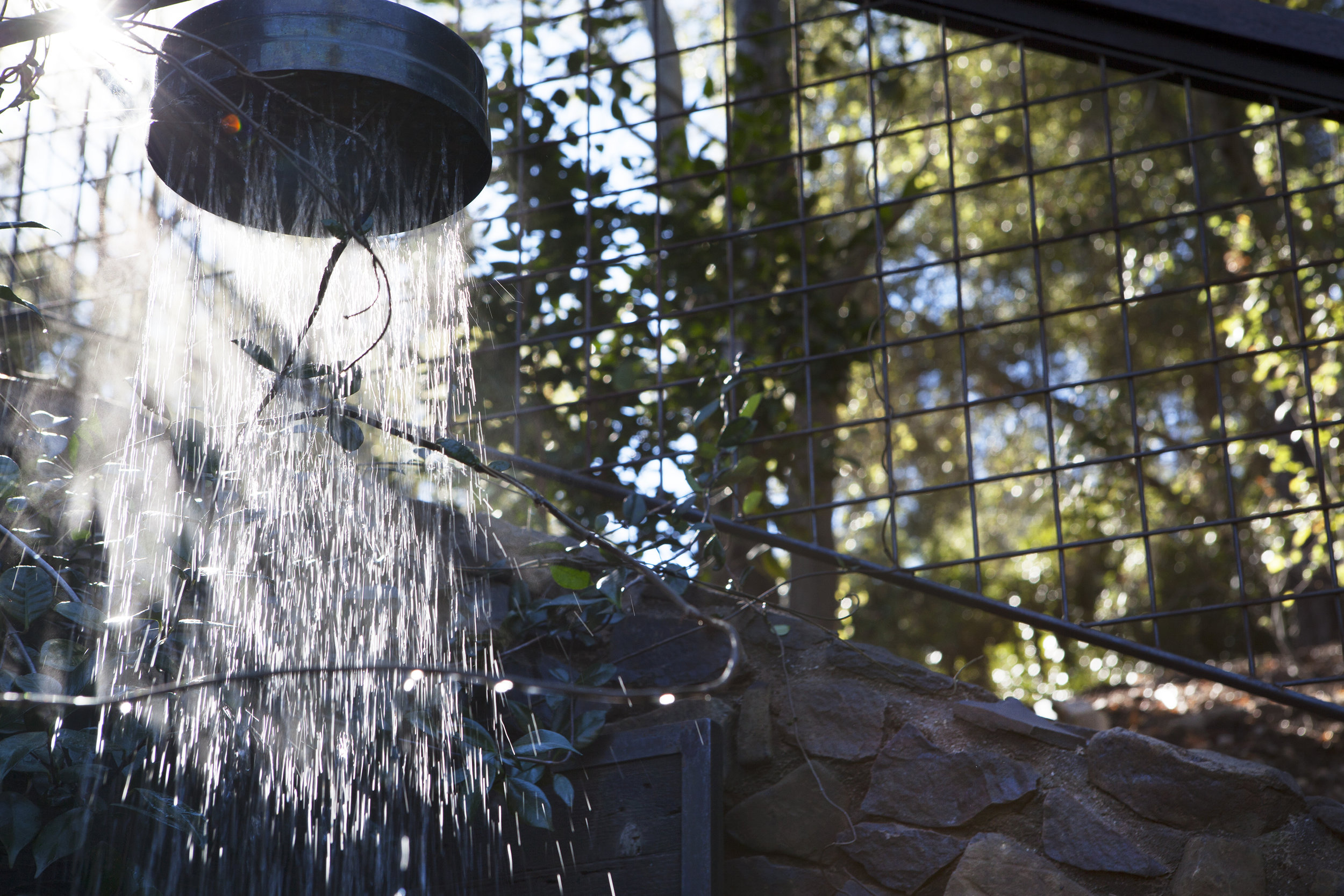 Outdoor shower luxury outdoor living feature - Topanga Canyon - Los Angeles garden design by Campion Walker Landscapes