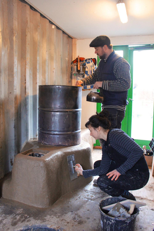 Finishing the rocket stove