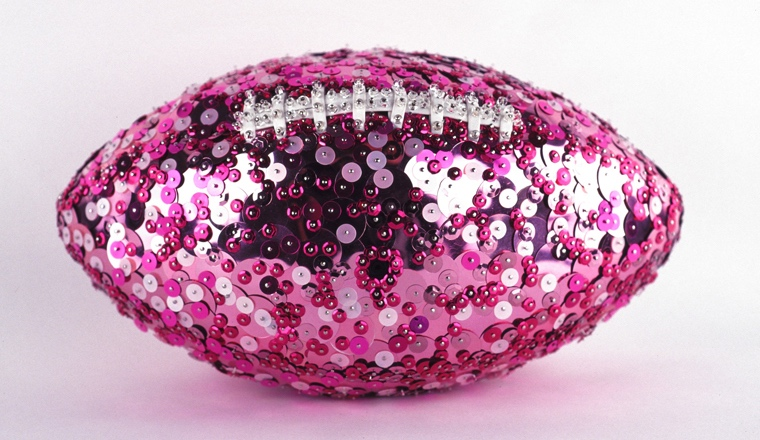 "Pink Football  , 2004 Sequins, glass beads and straight pins on regulation size NFL football, 6-1/8"" x 11"" x 6-1/2"