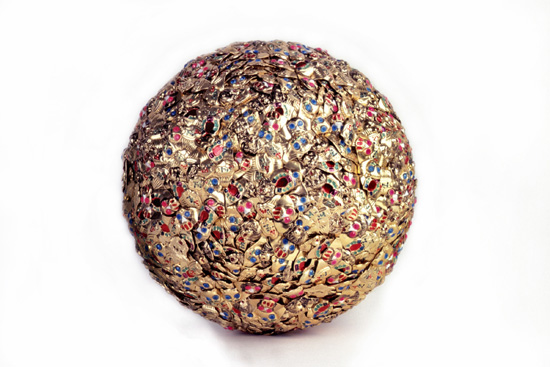 "My Personal Basketball  , 2003 Aluminum rings, acrylic paint and Styrofoam, 10-3/8"" diameter"