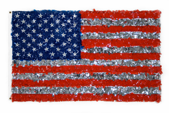 "USA  , 2008 Plastic floral sheeting, aluminum, staples and brass grommets on nylon, 36"" x 60"""