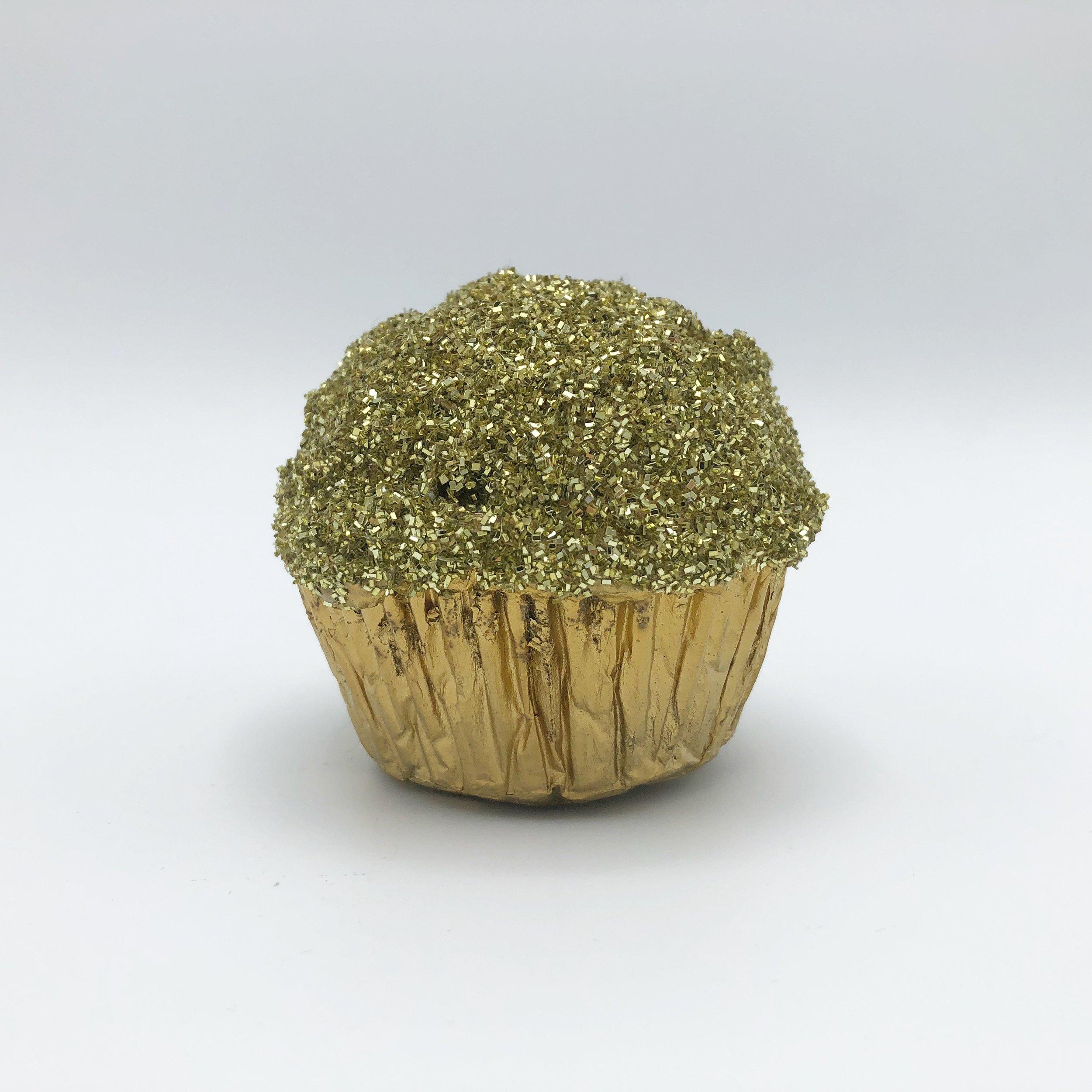 "Gold Cake  , 2010 Foil cup, Styrofoam, acrylic medium and glitter, 2-7/8"" x 3"" x 3"""