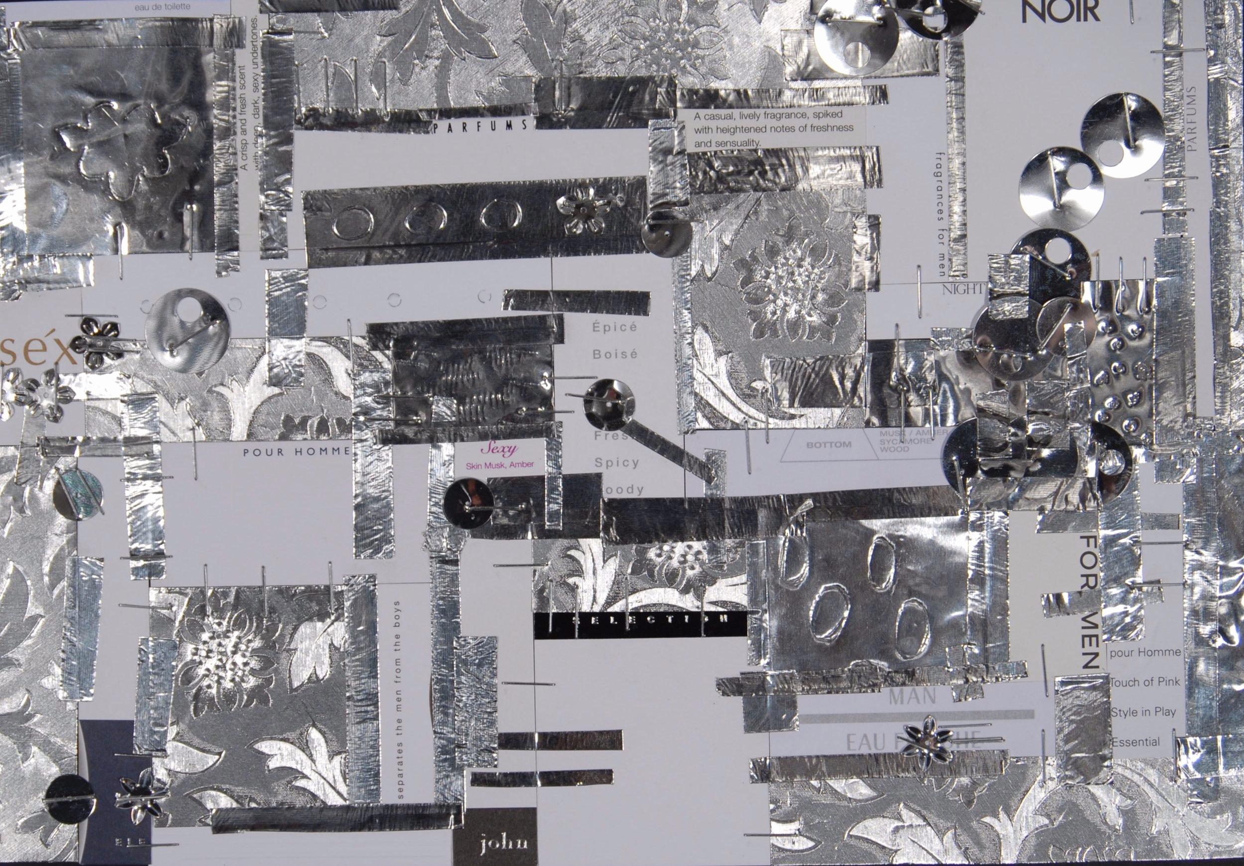 """Parfums Pour Homme  , 2007 Paper, cologne, foil, tape, staples and sequins, 7-1/2"""" x11-1/4"""""""
