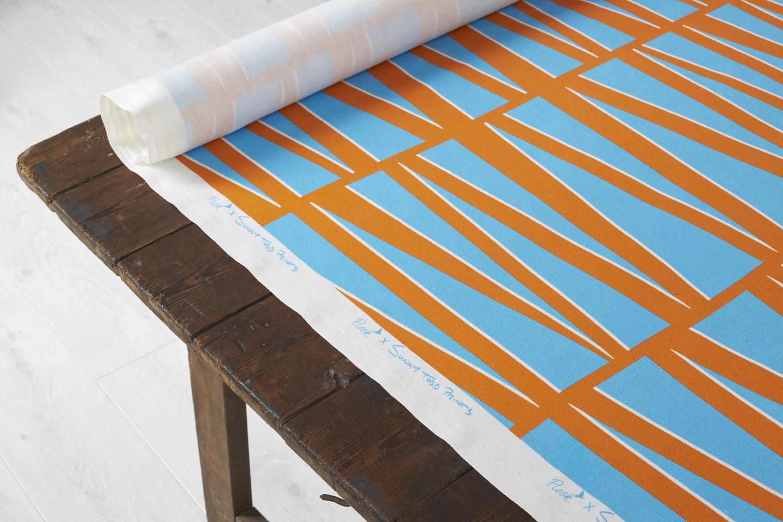Mirror Bight Blue & Orange fabric