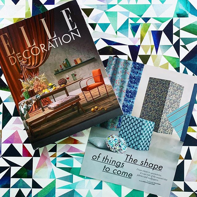 """HUGE thank you to @elledecorationuk for this sumptuous shoot """"The shape of things to come"""" featuring Atlas designed by our wonderful @rachelparkerdesigns as a cute little button cushion 🔹  Super styling from @kierabuckley.jones and stunning shots taken by @picturestring 🔹  LOVE it! 🙌"""